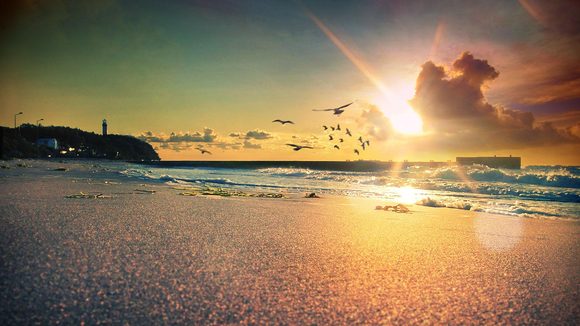 Plaża przy zachądzącym słońcu. W tle latarnia morska, latające mewy.